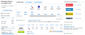 Philadelphia to LA: Fly.com Results Page