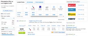 Philadelphia to LA: Fly.com Results Page