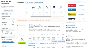 Atlanta to Chicago: Fly.com Results Page