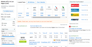 Atlanta to Las Vegas: Fly.com Results Page