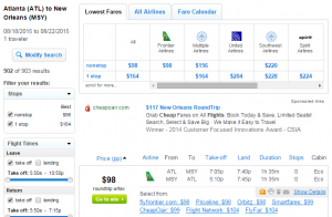 Atlanta to New Orleans: Fly.com Results Page