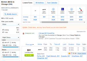Boston to Chicago: Fly.com Results Page