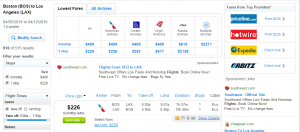 Boston to Los Angeles: Fly.com Results Page