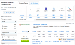 Baltimore to Chicago: Fly.com Results Page