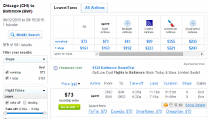 Chicago to Baltimore: Fly.com Results Page