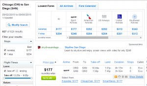 Chicago to San Diego: Fly.com Results Page