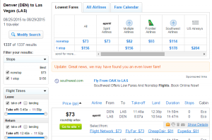 Denver to Las Vegas: Fly.com Results Page
