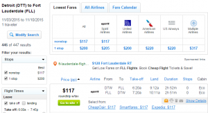 Detroit to Fort Lauderdale: Fly.com Results Page