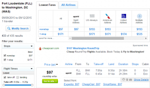 Ft Lauderdale to Baltimore: Fly.com Results Page