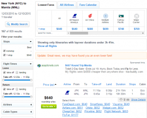 NYC to Manila: Fly.com Results Page