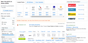 NYC to Dallas: Fly.com Results Page