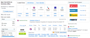 NYC to Honolulu: Fly.com Results Page