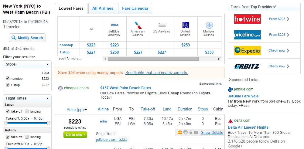 Nyc To West Palm Beach Fly Results Page