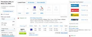 Philly to Belize, City: Fly.com Results Page