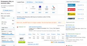 Philadelphia to Honolulu: Fly.com Results Page