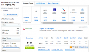 Philly to Vegas: Fly.com Results Page