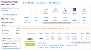 Philadelphia to Las Vegas: Fly.com Results Page
