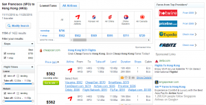 SF to Hong Kong: Fly.com Results Page
