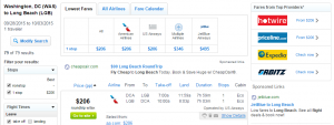 D.C. to Long Beach: Fly.com Results Page