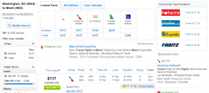 D.C. to Miami: Fly.com Results Page