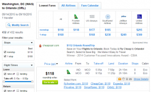 D.C. to Orlando: Fly.com Results Page