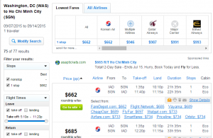D.C. to Ho Chi Minh City: Fly.com Results Page