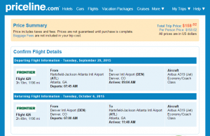 Atlanta to Denver: Priceline Booking Page