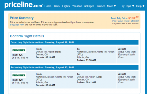 Denver to Atlanta: Priceline Booking Page
