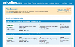 Detroit to D.C.: Priceline Booking Page