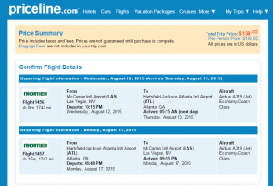 Las Vegas to Atlanta: Priceline Booking Page