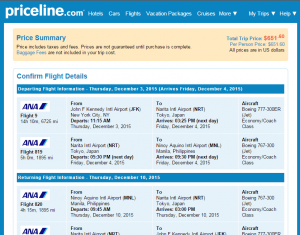 NYC to Manila: Priceline Booking Page