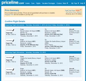 NYC to Paris: Priceline Booking Page
