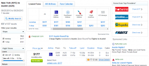 NYC to Austin: Fly.com Results Page