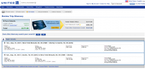 NYC to Austin: United Airlines Booking Page