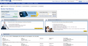 Philly to LA: United Booking Page