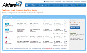 D.C. to Johannesburg: Airfare.com Booking Page
