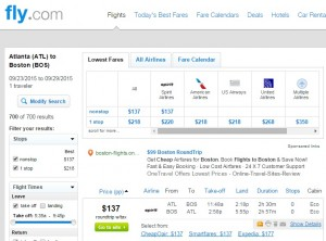 Atlanta to Boston: Fly.com Results