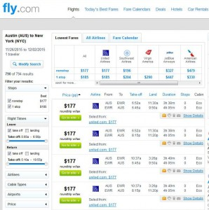 Austin-New York City: Fly Search Results