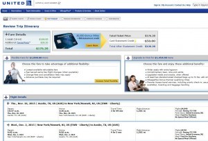 Austin-New York City: United Airlines Booking Page