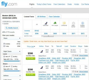Boston-Amsterdam: Fly Search Results