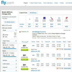 Boston-Chicago: Fly Search Results