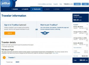 Boston-Chicago: jetBlue Booking Page