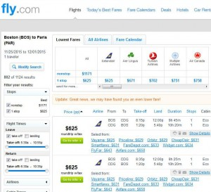 Boston-Paris: Fly Search Results