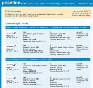 Boston-Paris: Priceline Booking Page