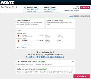 Boston to San Diego: Orbitz Booking Page