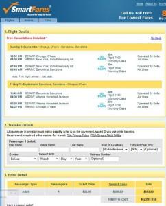Chicago-Barcelona: SmartFares Booking Page