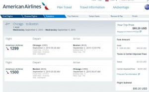 Chicago-Boston: American Airlines Booking Page