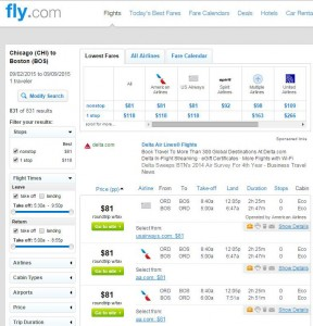 Chicago-Boston: Fly Search Results