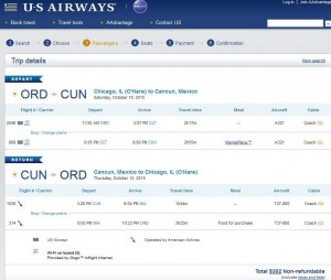 Chicago-Cancun: US Airways Booking Page