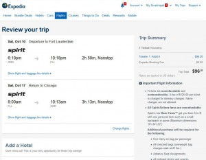 Chicago-Fort Lauderdale: Expedia Booking Page